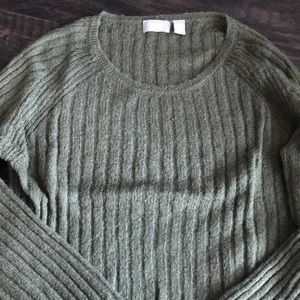 Old Navy Olive Green Light Cable Knit Sweater
